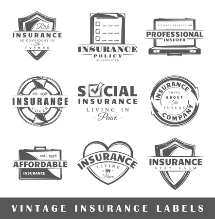 insurance claim: Set of  insurance labels. Elements for design on the  insurance theme. Collection of  insurance symbols: shield, lifebuoy, protection. Modern labels of  insurance. Vector illustration Illustration