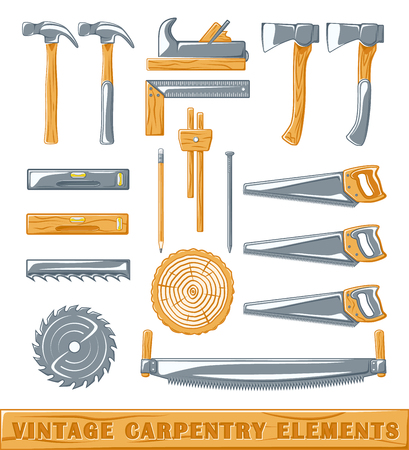 circular saw: Vintage carpenter elements: axe, nail, circular saw, surface gauge, saw, level, section, plane, hammer, pencil. Set of silhouettes carpenter tools isolated on white background. Vector illustration Illustration