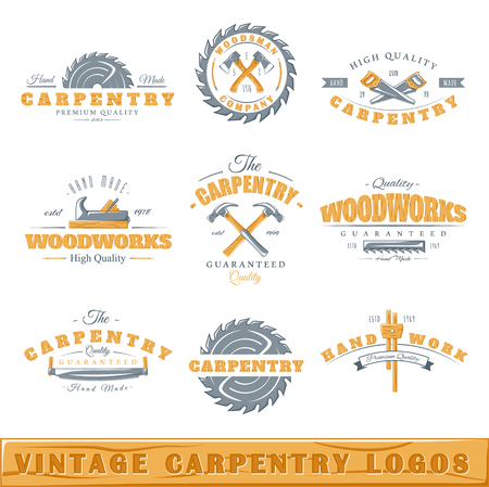 Set of vintage carpentry  . Posters, stamps, banners and design elements. Vector illustration