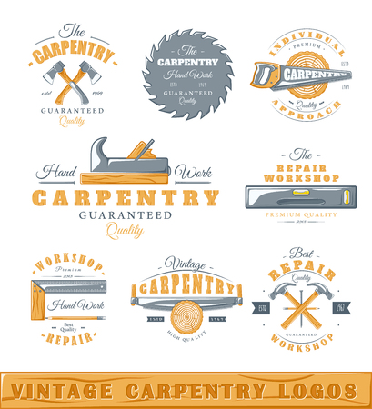 Set of vintage  carpentry. Posters, stamps, banners and design elements. Vector illustration