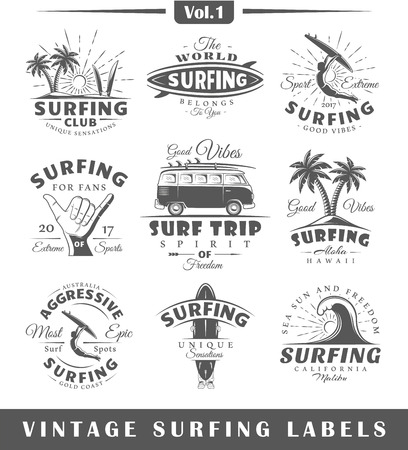 Set of vintage surfing labels. Vol.1.  Posters, stamps, banners and design elements. Vector illustration