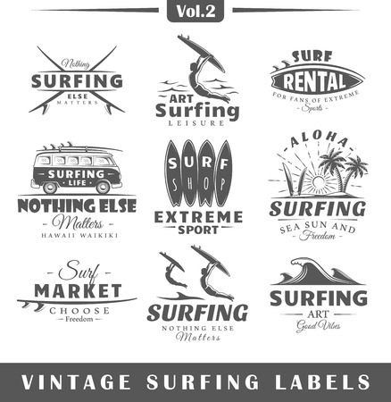 Set of vintage surfing labels. Vol.2.  Posters, stamps, banners and design elements. Vector illustration Иллюстрация