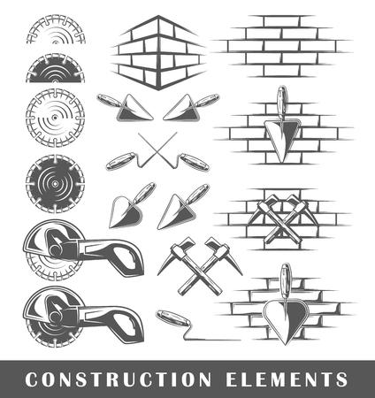 Conjunto de siluetas de unos elementos de construcción, aislado en un fondo blanco. ilustración vectorial Foto de archivo - 72232123