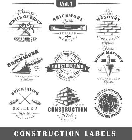 Set of vintage construction labels. Vol.1.  Posters, stamps, banners and design elements. Vector illustration Vettoriali