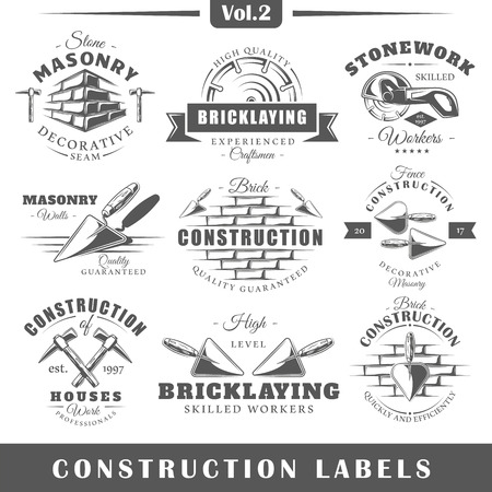 bricklaying: Set of vintage construction labels. Vol.2.  Posters, stamps, banners and design elements. Vector illustration