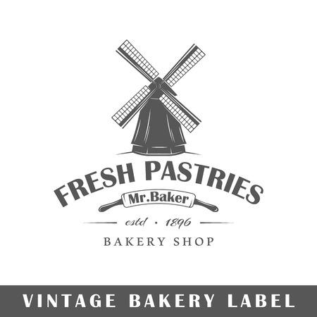 Bakery label isolated on white background. Design element. Template for logo, signage, branding design. Vector illustration Illustration