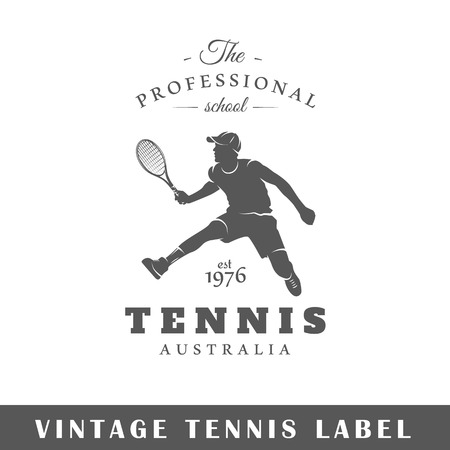 Tennis label isolated on white background. Design element. Template for logo, signage, branding design. Vector illustration