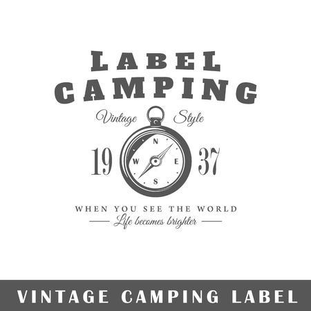 Camping label isolated on white background. Design element. Template for icon, signage, branding design. Ilustração