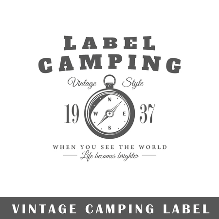 Camping label isolated on white background. Design element. Template for icon, signage, branding design. Stock Illustratie