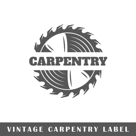 Carpentry label isolated on white background. Design element. Template for logo, signage, branding design. Vector illustration Stock Illustratie