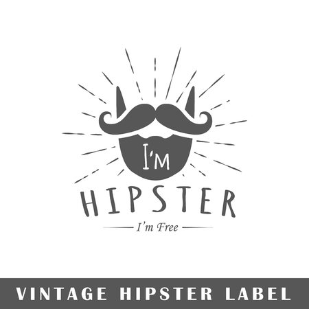 Hipster label isolated on white background. Design element. Template for logo, signage, branding design. Vector illustration