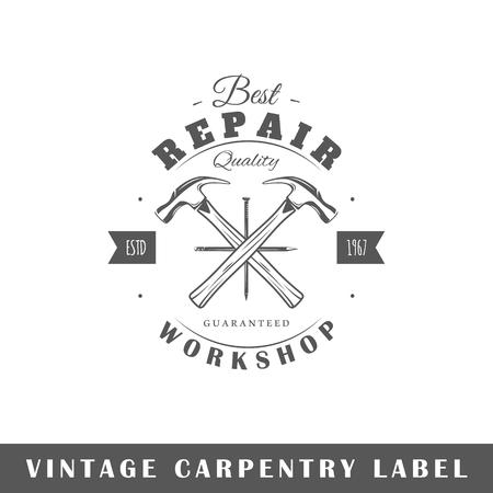 Carpentry label isolated on white background. Design element. Template for logo, signage, branding design. Vector illustration Illustration