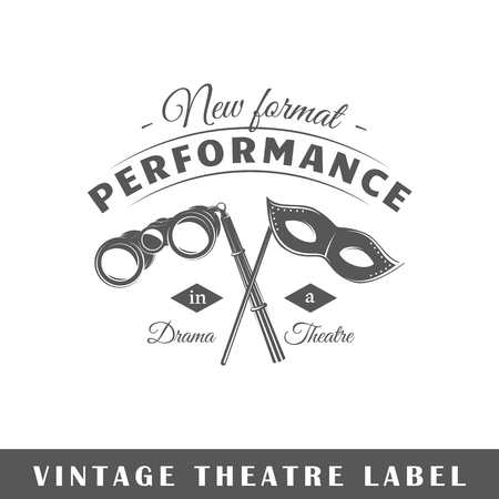 Theatre label isolated on white background. Design element. Template for logo, signage, branding design. Vector illustration.