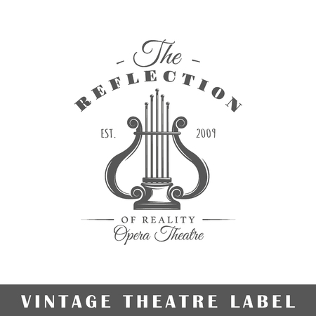 Theatre label isolated on white background. Design element. Template for logo, signage, branding design. Vector illustration Illustration