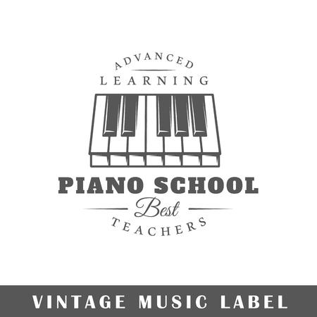 Music label isolated on white background. Design element. Çizim