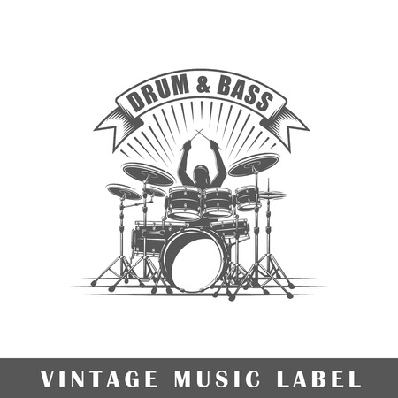 Music label isolated on white background. Design element. Illustration