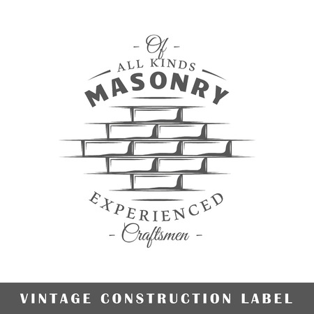 Construction label isolated on white background. Design element. Template for logo, signage, branding design.