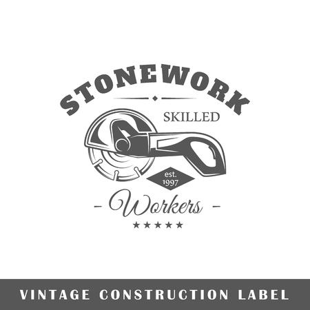 Construction label isolated on white background. Design element.