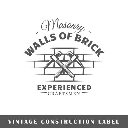 Construction label isolated on white background. Design element. Template for logo, signage, branding design. Vector illustration