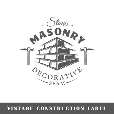 白い背景に分離された建築ラベル。デザイン要素。ロゴ、看板、ブランディングデザインのためのテンプレート。ベクターイラスト  イラスト・ベクター素材