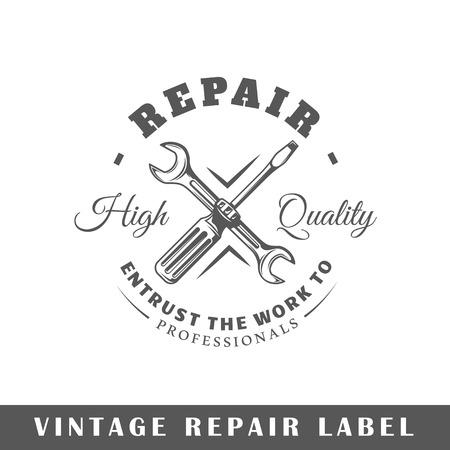 Repair label isolated on white background. Design element. Template for logo, signage, branding design. Vector illustration