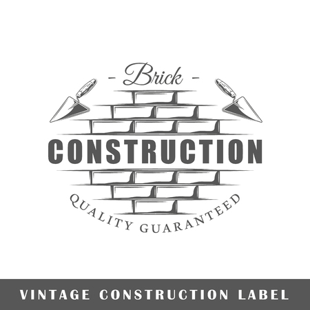 Construction label isolated on white background. Design element. Template for logo, signage, branding design. Vector illustration