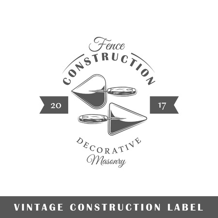 Construction label isolated on white background. Design element. Template for icon, signage, branding design.