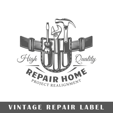 Repair label isolated on white background. Design element. Template for logo, signage, branding design. Vector illustration