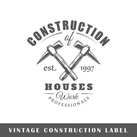 Bauaufkleber lokalisiert auf weißem Hintergrund. Gestaltungselement. Vorlage für Logo, Beschilderung, Branding-Design. Vektor-Illustration Standard-Bild - 89710568