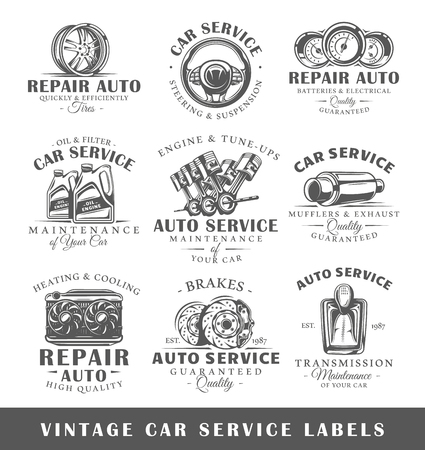 Set of vintage car service labels. Templates for the design of icon and emblems. Collection of car service symbols: tire, engine, muffler. Vector illustration