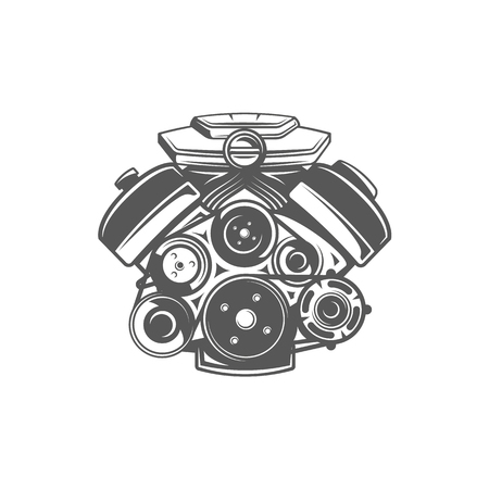 Element of the car service. Engine isolated on white background. Symbol for car service design icon and emblems. Vector illustration