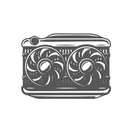 Element of the car service. Radiator isolated on white background. Symbol for car service design logos and emblems. Vector illustration 일러스트