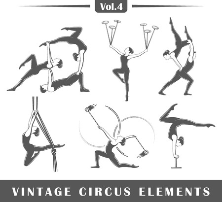 Set of elements of the circus isolated on white background. Symbols for circus design logos and emblems. Vector illustration