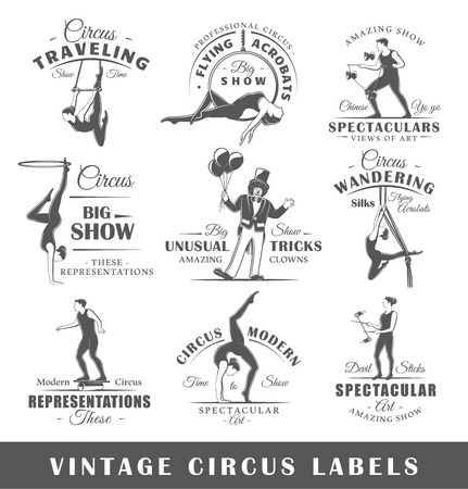 Set of vintage circus labels. Templates for the design of symbols and emblems. Collection of circus symbols: clown, acrobatic, trick. Vector illustration Banque d'images - 94445938