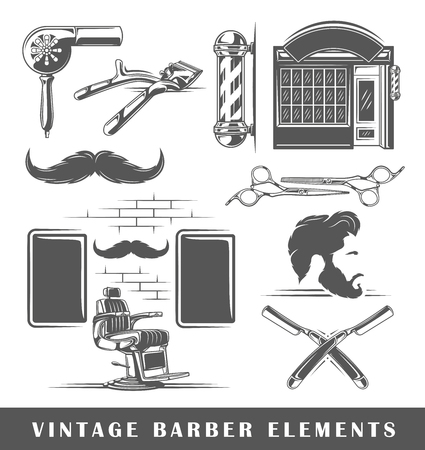 Set of elements of the barbershop isolated on white background. Symbols for barbershop design and emblems. Vector illustration