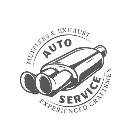 Etykieta serwis samochodowy na białym tle. Element projektu. Ilustracja wektorowa