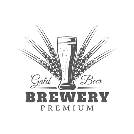 Beer label isolated on white background. Design element. Vector illustration
