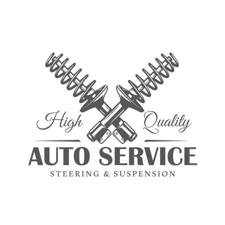 Car service label isolated on white background. Design element. Vector illustration