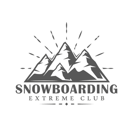Vintage snowboarding label isolated on white background. Vector illustration Ilustração