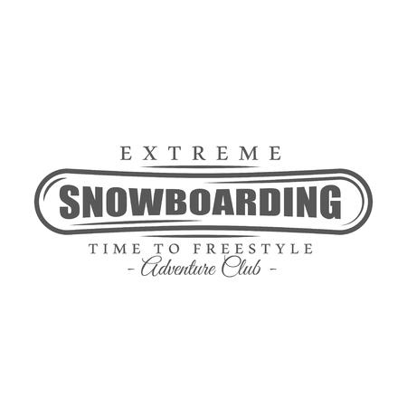 Vintage snowboarding label isolated on white background. Vector illustration Illustration