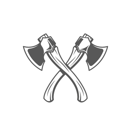 Axes isolated on white background. Modern carpentry tool. Vector illustration