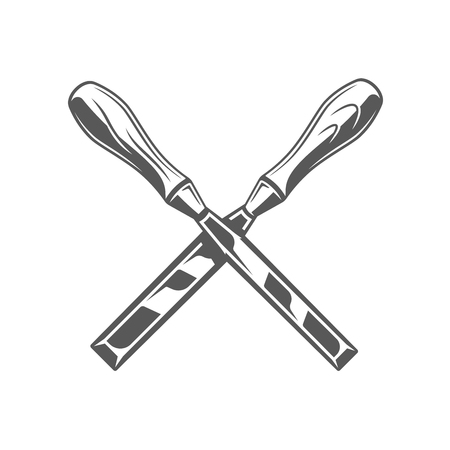 Chisels isolated on white background. Modern carpentry tool. Vector illustration
