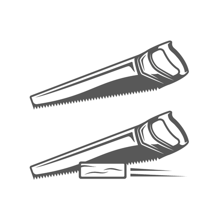 Handsaw isolated on white background. Modern carpentry tool. Vector illustration