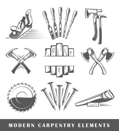 Modern carpentry tools isolated on white background. Vector illustration Illustration