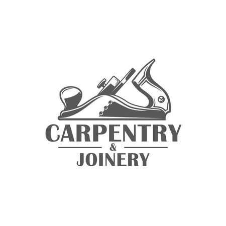 Jointer. Modern carpentry label isolated on white background. Vector illustration