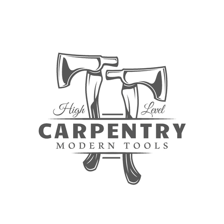 Axes. Modern carpentry label isolated on white background. Vector illustration Illustration