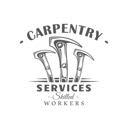 Hammers. Modern carpentry label isolated on white background. Vector illustration