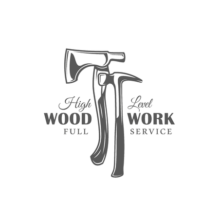 Axe and hammer. Modern carpentry label isolated on white background. Vector illustration