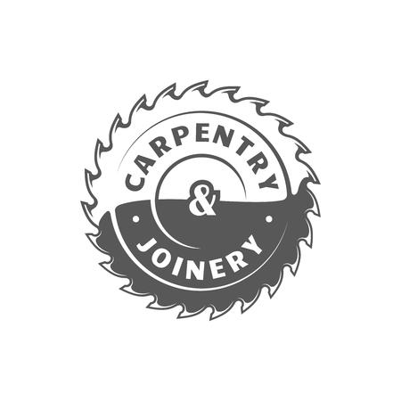 Saw blade. Modern carpentry label isolated on white background. Vector illustration Illustration