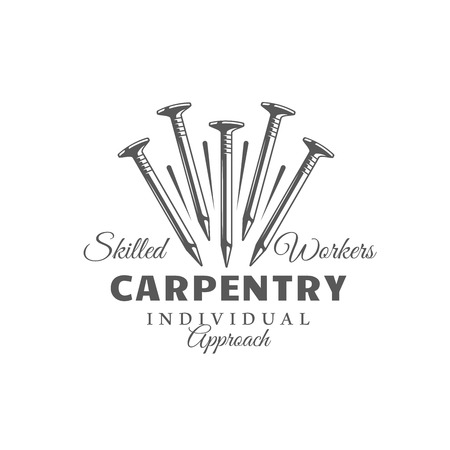 Nails. Modern carpentry label isolated on white background. Vector illustration